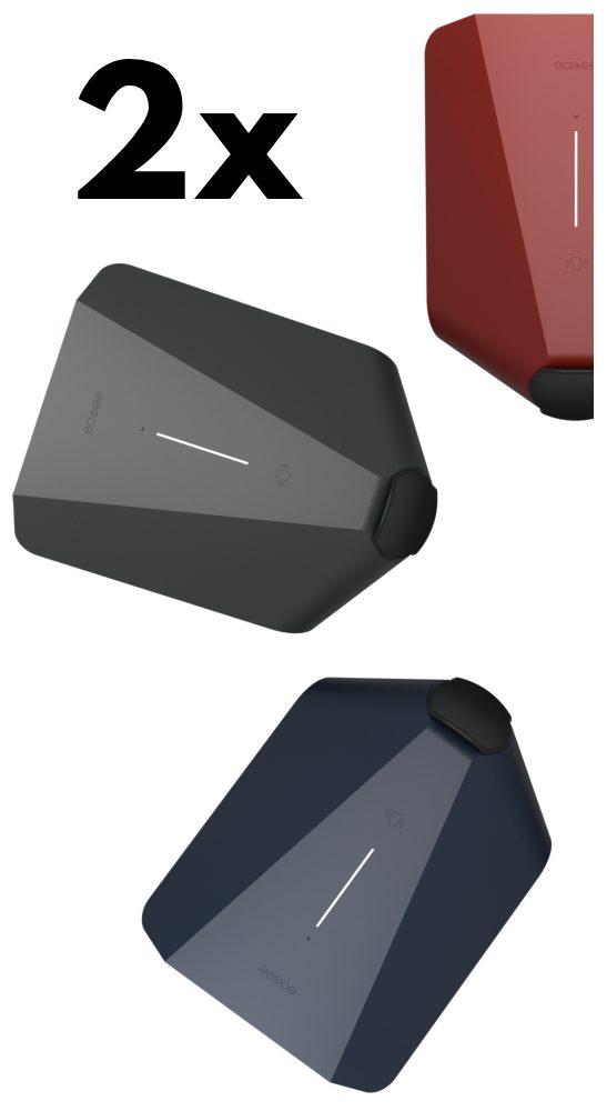 2x easee home - i bild tre färger (grå, röd och marinblå)