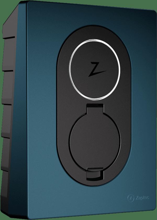 Zaptec Go laddbox blå färg transparent bakgrund