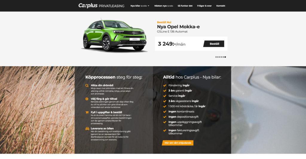 Carplus tjänst elbil privatleasing