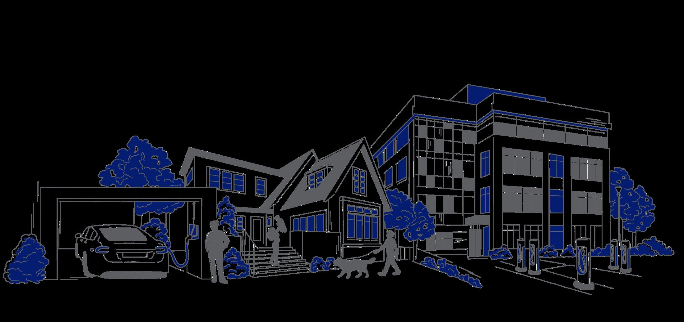 Laddsmart laddboxar för hem och BRF illustration